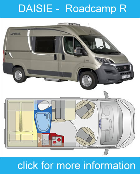 click here for more info on Daisie our agile 2 berth motorhome for hire